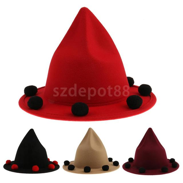 1pcs Kids Felt Red Witch Hat with Woolball Decorations for Any Occasion 50284ac880b
