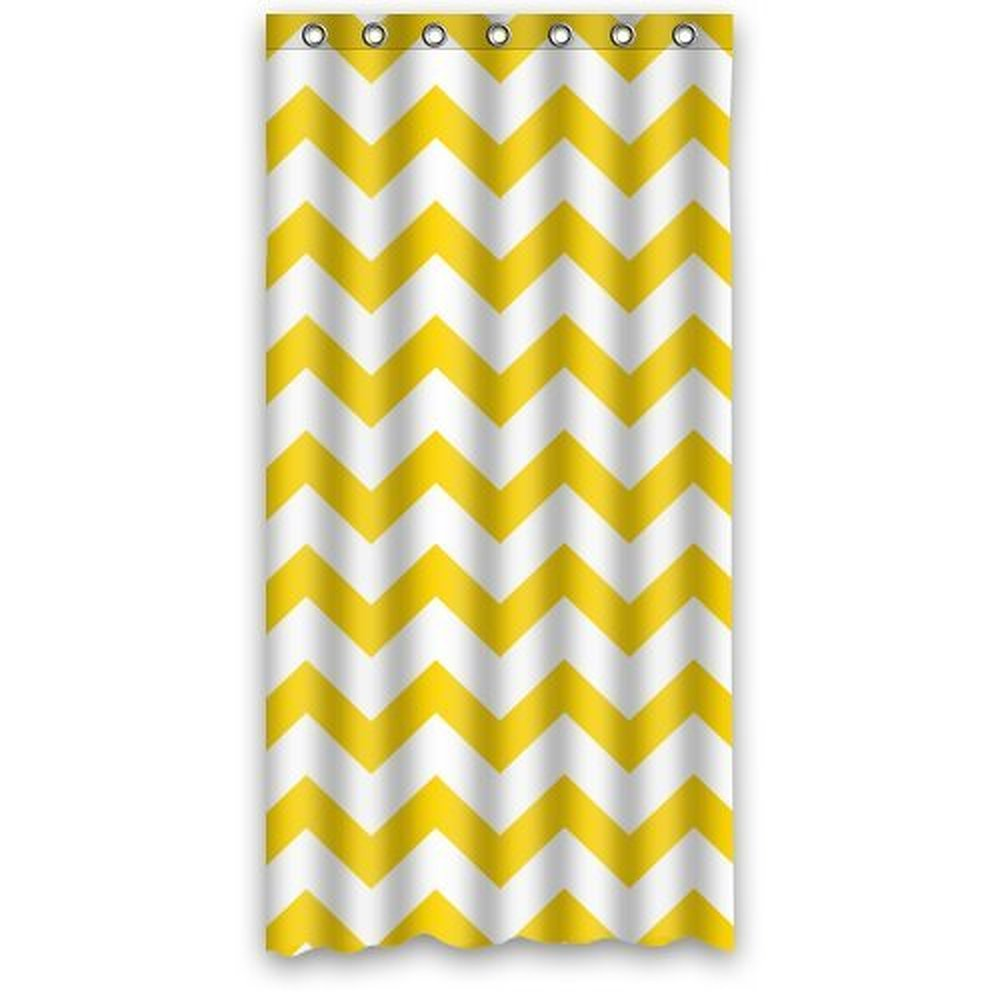Yellow chevron kitchen curtains - 36wx72h Inch Stylish Living Elegant Yellow And White Chevron Pattern Bath Shower Curtain Hook Attached