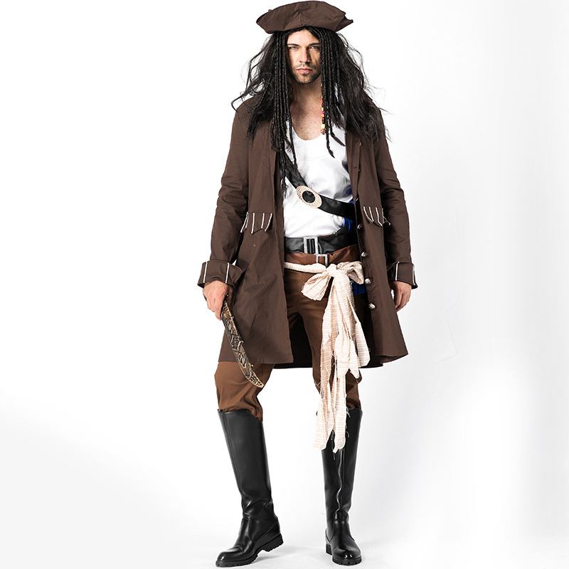 Pirates of the Caribbean Jack Sparrow Cosplay Costume Set Adult Men Pirate Costume Halloween Cosplay Clothing Outfit