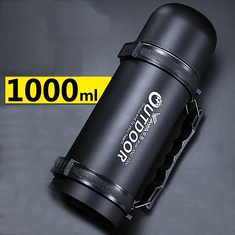 1000 ml En Acier Inoxydable Isolé Fiole À Vide Thermos Bouteille En Plein Air Tasse Voyage Pot Thermique Large Bouche Thermos H1022