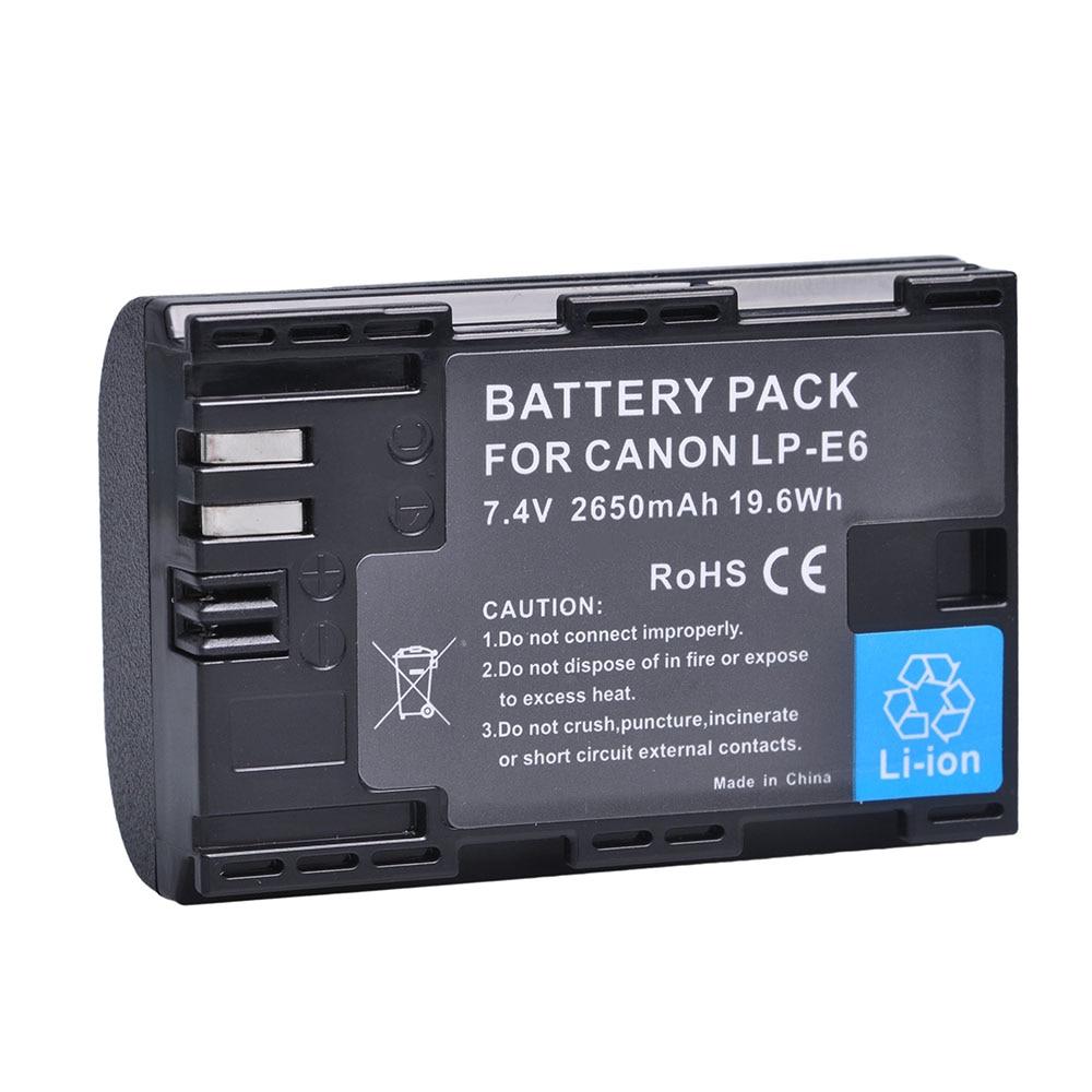 1Pc 2650mAh LP-E6 LP E6 LP-E6N Camera Battery for Canon EOS 5DS 5D Mark II Mark III 6D 7D 60D 60Da 70D 80D DSLR EOS 5DSR