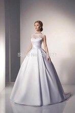 2016 Новый Элегантный Свадебные Платья Scoop Слоновая Кость Атласные Свадебные Платья 2016 Линия vestido де noiva 2016