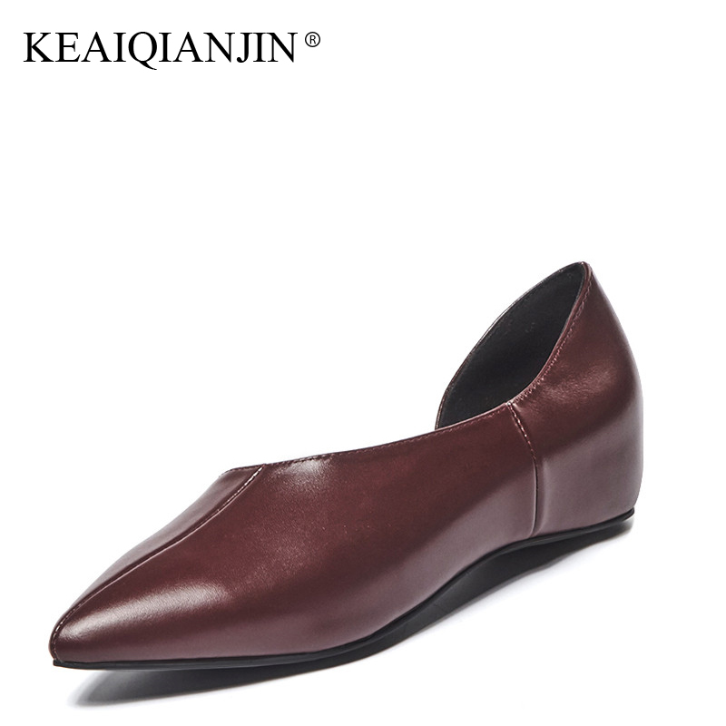 KEAIQIANJIN Woman Platform Shoes Fashion Spring Autumn Brown Black Red Gray Pointed Toe Flats Casual Genuine Leather Loafers 2017 vintage pu women d orsay flats shoes spring autumn sexy pointed toe woman casual low heel basic flats casual loafers gray