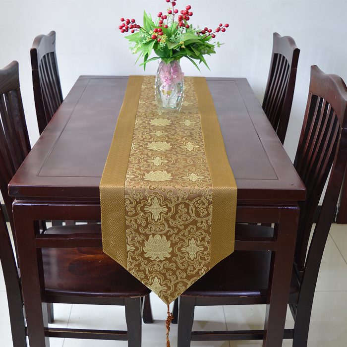 Elegant Chinese Knot Damask Dinner Table Runner Length Coffee Cloth Decoration Bed Runners Size L200
