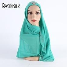 Promotion Sale! Women Square Hijab Scarves Exquisite Czech Rhinestone Female AL-AMIRAH Chiffon Muslim Shawl Headscarf Turban