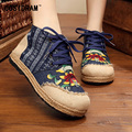 Spring Autumn High Top Women Flats Hemp Linen Canvas Flower Women Casual Shoes Chinese Style Leisure Fashion Ladies Shoe SNE-187