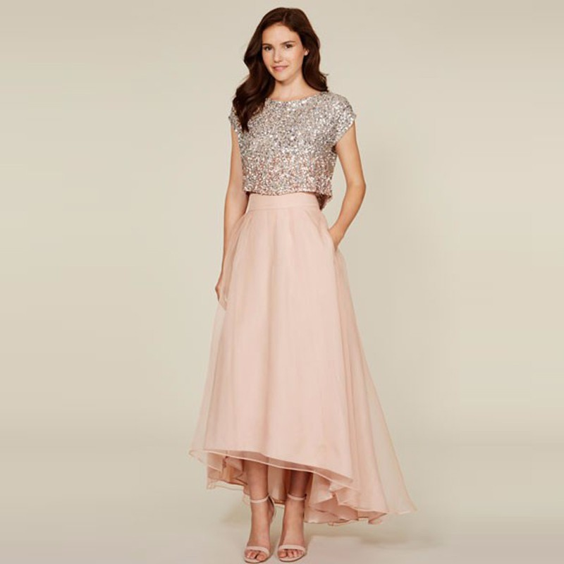 2017 New Blush Pink High Low Long Skirts Womens A Line Organza Maxi Skirt Custom Made Cheap Bridesmaid Skirt For Wedding Party