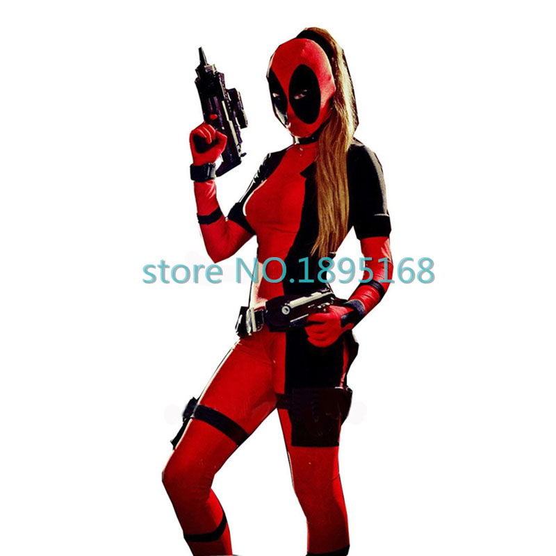 2017 cool deadpool costume women marvel superhero costumes movie cosplay zentai suit red full body deadpool halloween costume - Unique Halloween Costume Women