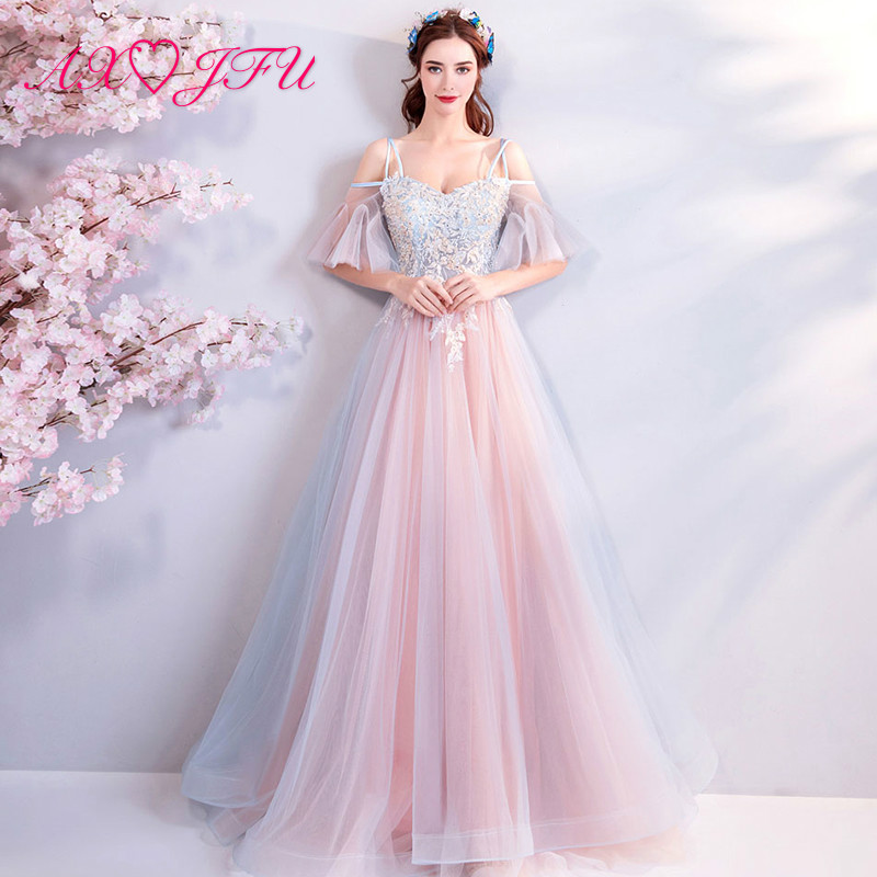 AXJFU princess pink lace flower   Evening     Dresses   luxury vintage illusion boat neck beading crystal   evening     dress   7268