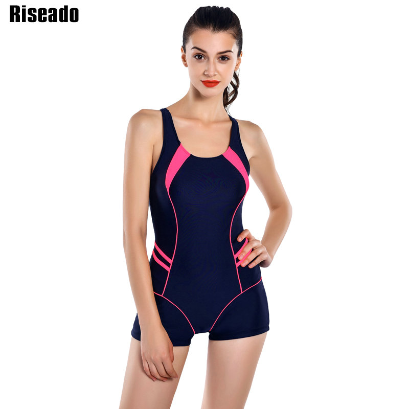 Riseado New 2017 Sports One Piece Swimsuits Brand Swimwear Women Retro Shorts Backless Bathing Suits For