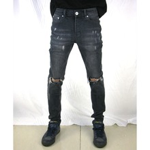 2019 Vintage new fashion pants men skinny jeans streetwear ripped jeans Fitted hip hop Hole jeans street wear Washed Slim denim