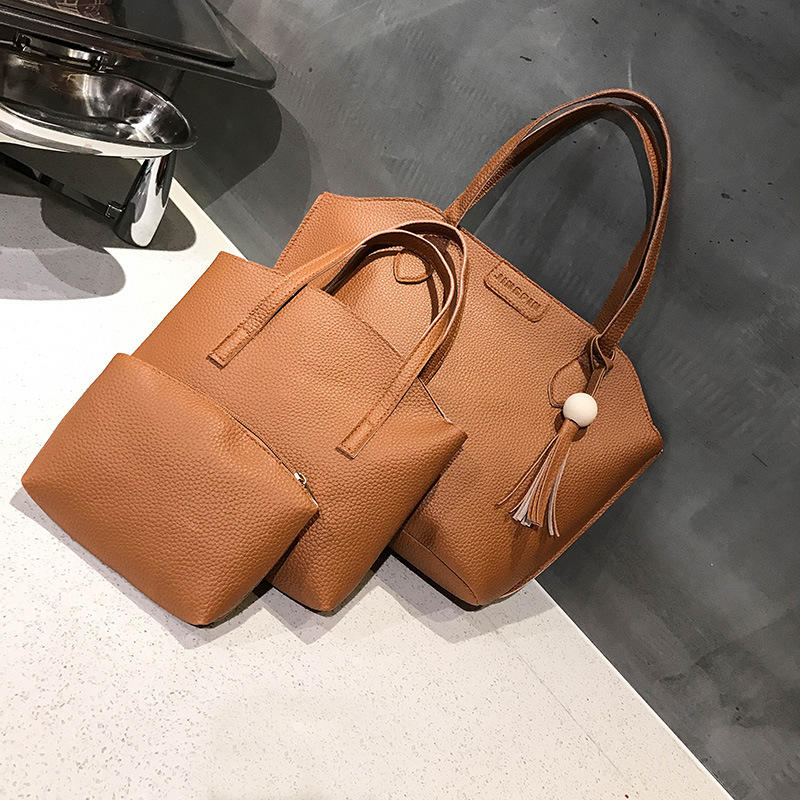 3pcs Women Bag Set Lether Handbags Female Casual Totes Tassel Composite Bag Clutch Light Weight Shopping Bag Bolsa Feminina