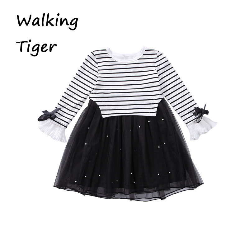 Girls dresses stripe tops shirt black dress girl long sleeve dress fall 2017 new fashion kids frock