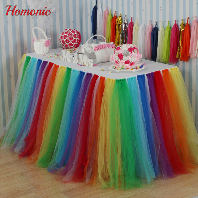 DIY Tulle Tutu Table Skirt Multicolor Tableware For Wedding Favors Birthday Party Decoration Home Textile