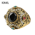 2016 Vintage Rings For Women Ancient Gold Plated Punk Ring Austrian Crystal Turkish Jewelry