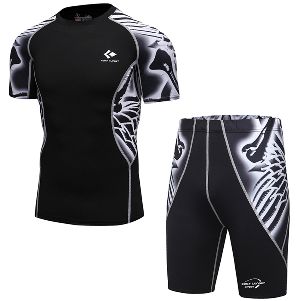 Breathable New Compression Suits for Men MMA Rashguard Short Sleeves Compression Shirts + Short Pants Base Layer Sets for Male