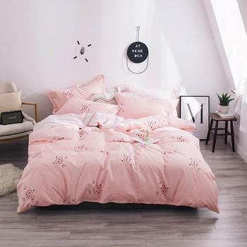 2019 Cute Pink Pigs INS Cartoon Bed Cover Soft Cotton Bedlinens Twin Queen King Duvet Cover Set Bedspread Pillowcases