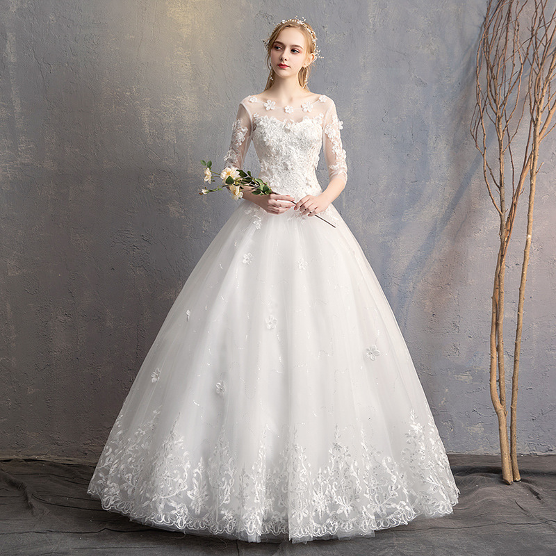 Image 2 - Do Dower 2019 New O Neck Three Quarter Wedding Dress Princess Flower Beading Lace Up Floor Length Wedding Gown Robe De Mariee L-in Wedding Dresses from Weddings & Events