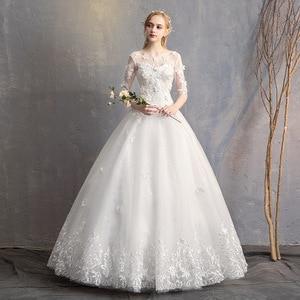 Image 2 - EZKUNTZA 2019 nouveau O cou trois quarts Robe De mariée princesse fleur perles à lacets étage longueur Robe De mariée Robe De mariée L