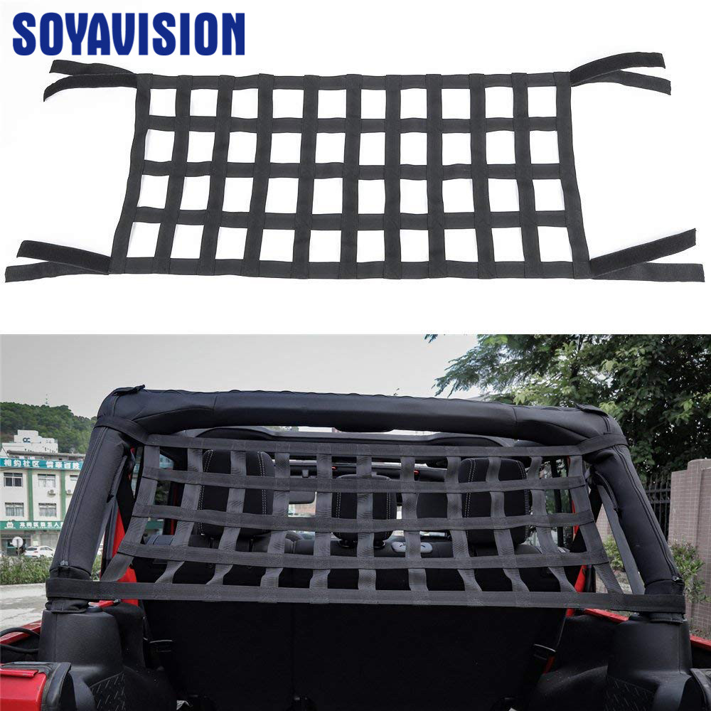 Black Heavy Duty Cargo Net Cover For Jeep Wrangler TJ JK 07 18 Multifunctional Top Roof Storage Hammock Bed Rest Network Cover-in Rear Racks & Accessories from Automobiles & Motorcycles