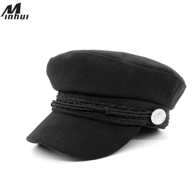 Minhui Vintage cepures sievietēm 2015 Jauns modes militārais cepure Gorras Planas Snapback vāciņi sieviešu kaskete Saules cepure