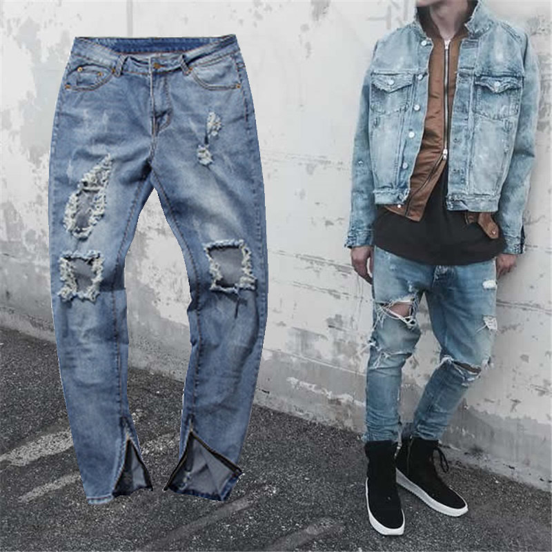 Fashion 2017 Mens Brand Skinny Ripped Jeans Blue Distroyed Hole Ankle Zipper Pencil KANYE WEST Side Biker