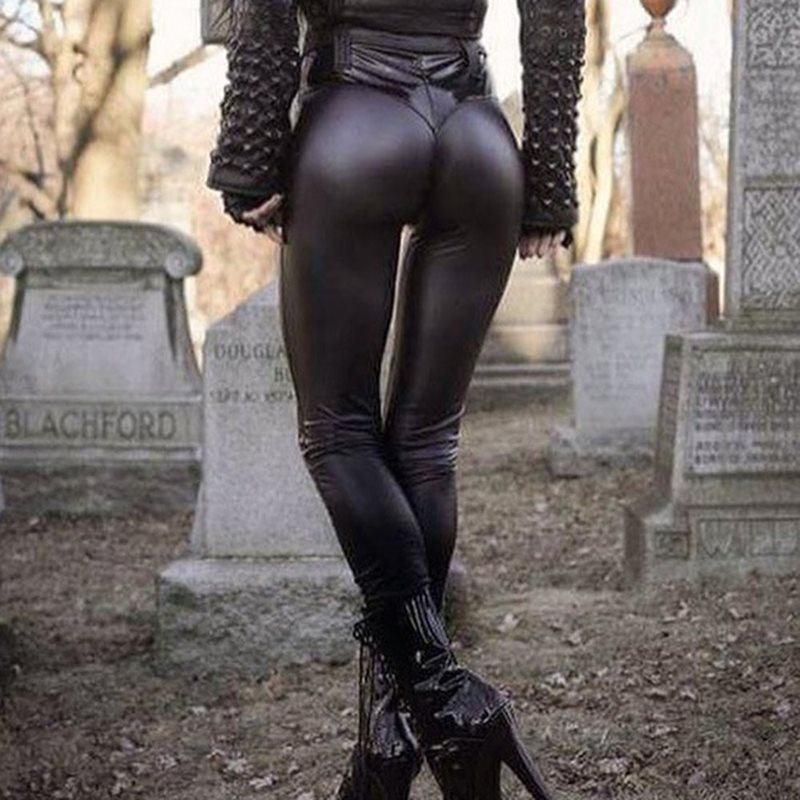 2019 Women Casual PU Leather Pants Sexy Push Up Gothic Punk Black High Waist Pants Skinny Stretch Spring Autumn Ladies Trousers