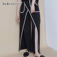 TWOTWINSTYLE Split Striped Trouser Female Patchwork Pocket High Waist Black Long Pant Spring Fashion 2018 Large