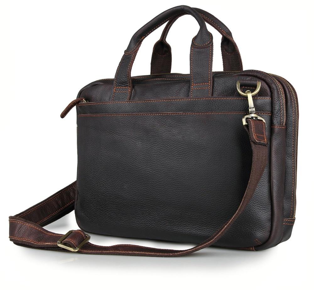 Genuine Cow Leather Briefcases Men's Handbag 15 Inches Top Handle Laptop Bag 7092Q