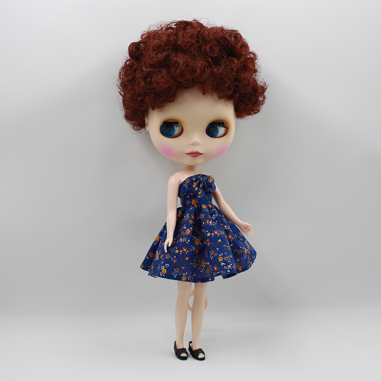 Fashion dolls in doll Blyth Dark brown short curly hair Blyth nude doll diy fashion dolls toys for girls gifts