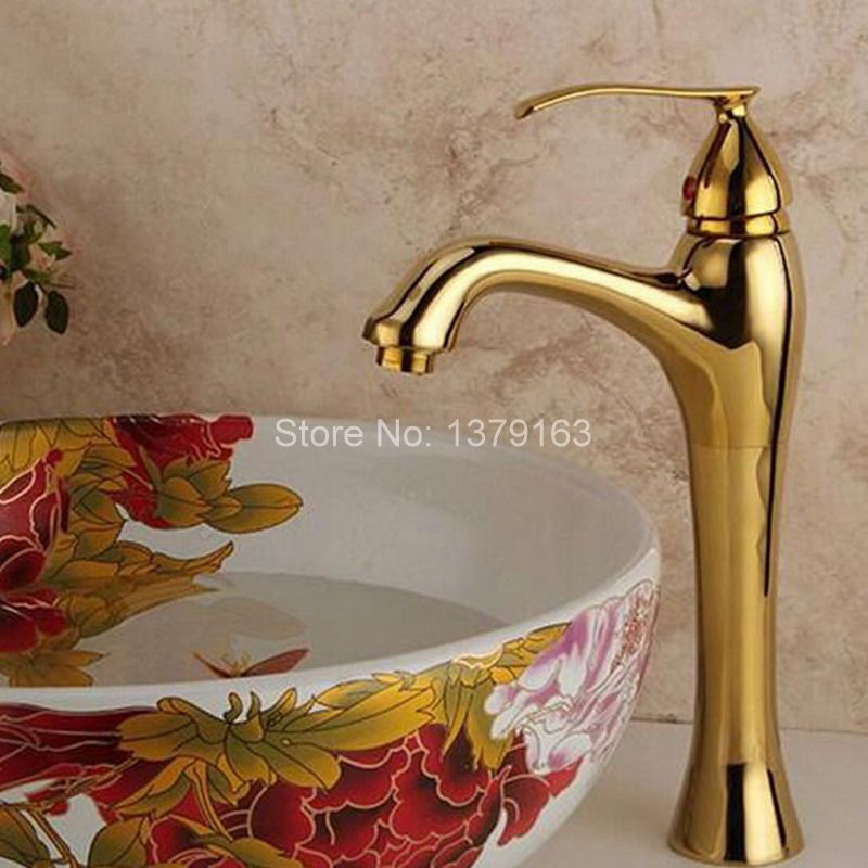 Gold Color Polished Brass Single Handle Bathroom Vessel Sink Basin Faucet Mixer Taps  agf016Gold Color Polished Brass Single Handle Bathroom Vessel Sink Basin Faucet Mixer Taps  agf016