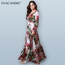 Floral Maxi Dress Long Sleeve V Neck Vintage Elegant White Chiffon Boho Tunic Beach Boho Plus Size Summer Dress Women Vestidos недорого