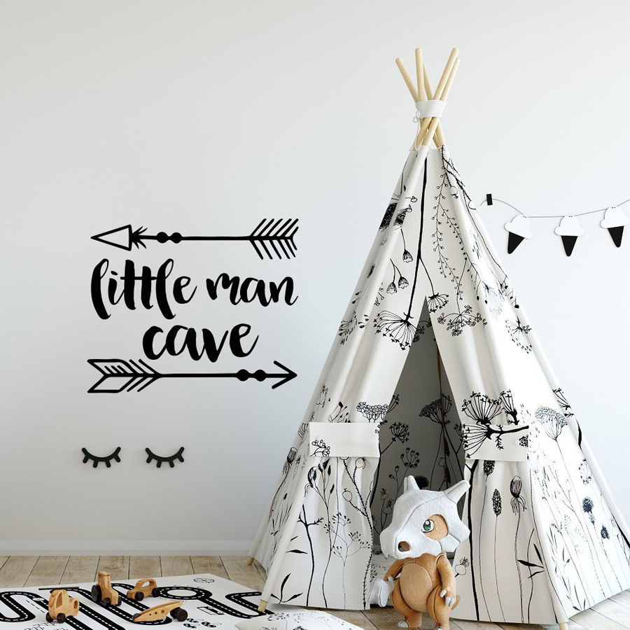 Us 5 48 30 Off Little Man Cave Nursery Wall Decal Baby Boys Decor Woodland Tribal Arrows Vinyl Sticker Wallpaper Playroom Decals G80 In