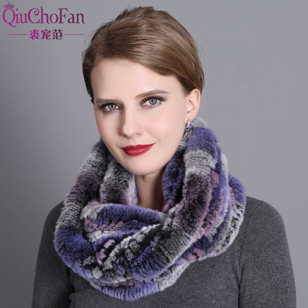 Women Scarf Winter 2017 Brand Luxury Knitted Female Real Rex Rabbit Fur Scarf Collar Warm Neck