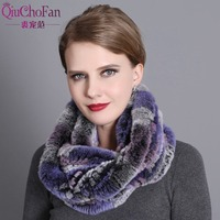 Women Scarf Winter 2017 Brand Luxury Knitted Female Real Rex Rabbit Fur Scarf Collar Warm Neck Color Pompoms