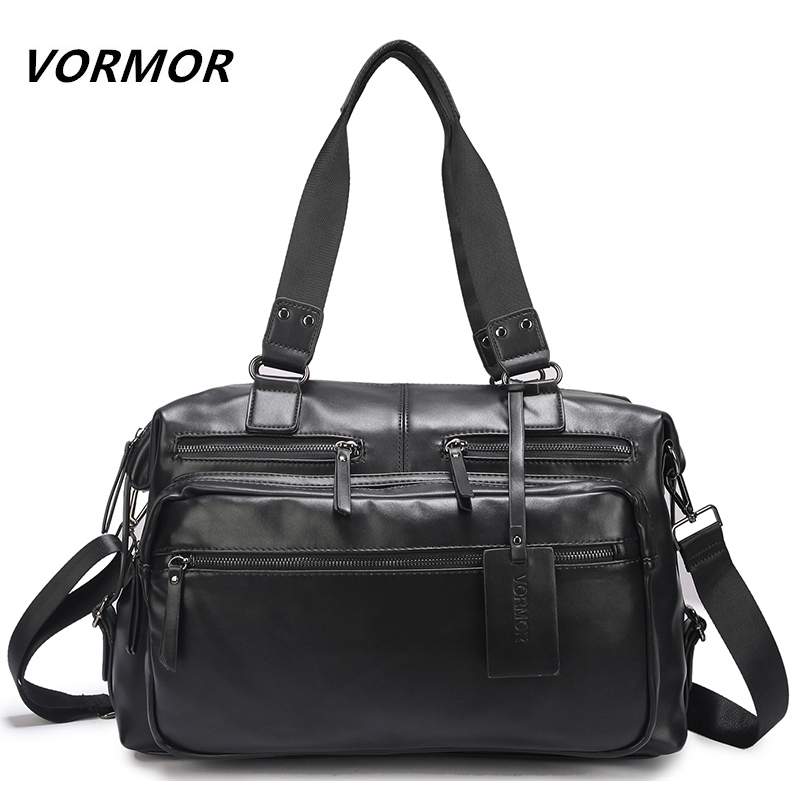 VORMOR Brand PU Leather Handbags For Men Large-Capacity Portable Shoulder Bags Men's Fashion Travel Bags Package kadell unisex handbags for men large capacity portable shoulder bags travel bags package soft pu leather retro bags women
