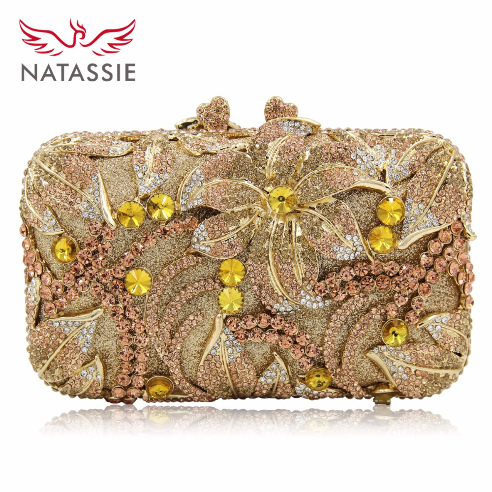 NATASSIE Women Evening Bags Ladies Crystal Clutch Bag Female Party Purses natassie women evening bags ladies crystal wedding clutch bag female party clutches purses