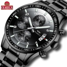 OLMECA Hot Selling Fashion Relogio Masculino Chronograph Watches Wrist Watch Steel Clock Men's Waterproof Military Black olmeca fashion military clock relogio masculino 3atm waterproof watches chronograph wrist watch watches for men stainless steel