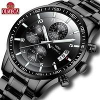 OLMECA Hot Selling Fashion Relogio Masculino Chronograph Watches Wrist Watch Steel Clock Men's Waterproof Military Black
