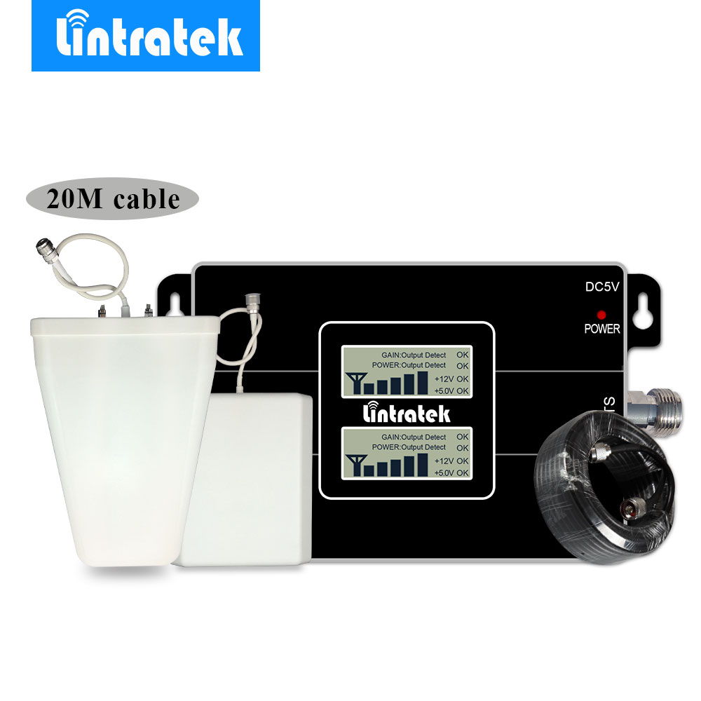 Lintratek Cell Repeater GSM 900 -2100 3G Signal Booster 2G 3G 900MHz UMTS 2100MHz Mobile Phone Signal Amplifier 20M Cable Kit @