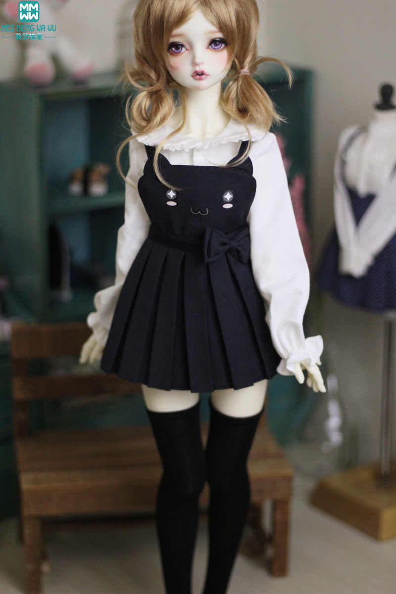 BJD poppenkleertjes past 60 cm 1/3 BJD pop mode temperament pak wit shirt + strap rok + kousen
