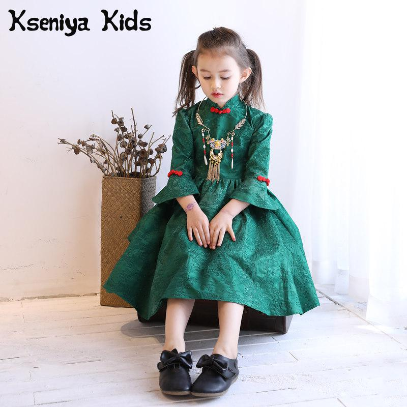 Kseniya Kids 2017 Cute Winter Long Sleeved Dress Costume Girl Children New Year Red Lace Girls Dress Princess Party Girls Show chinese red flower lace cheongsam girls dresses fleece thick long sleeved princess dress girl cute children costume kids clothes
