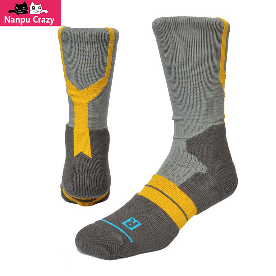 FRANCHISE Crew Compression Socks for Men Nylon Terry Ankle Pads Basketball Socks Hit Color Outdoor Sport Skiing Sock