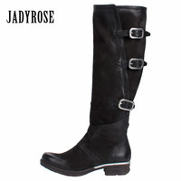 Jady Rose Black Women Knee High Boots Genuine Leather Riding Boot Flat Shoes Woman Platform Straps