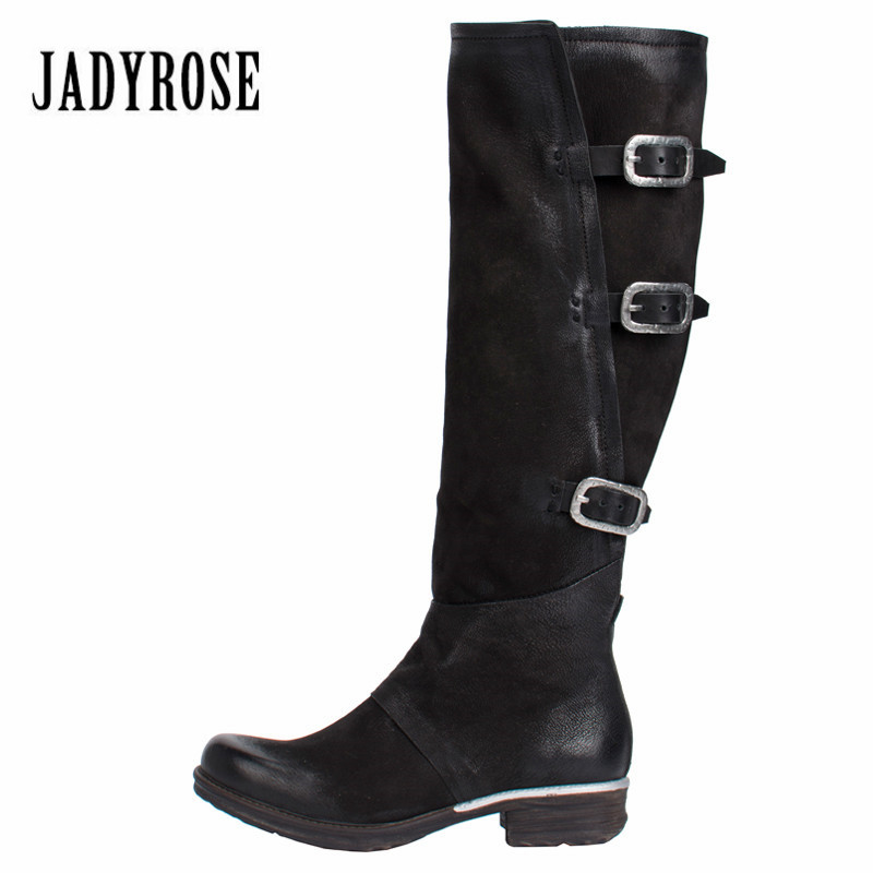 Jady Rose Black Women Knee High Boots Genuine Leather Riding Boot Flat Shoes Woman Platform Straps High Boots for Winter jady rose vintage black women knee high boots lace up side zip platform high boots thick heel flat martin boot for autumn winter
