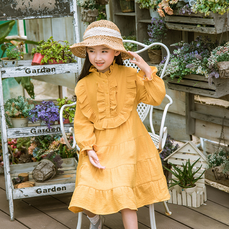 2017 Autumn Children's Clothing Girls Dress Long Sleeve Ruffle Neck Elegant Vintage Dresses Kids Clothes Vestido Princesa