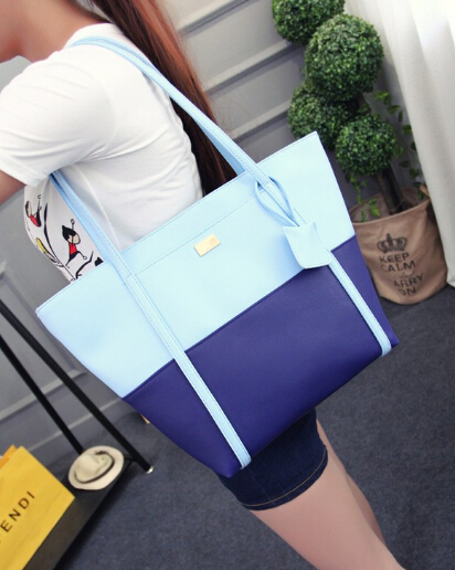 2017 Neue Weibliche Mode Einfache Casual Schultertasche Traf Farbe Handtasche