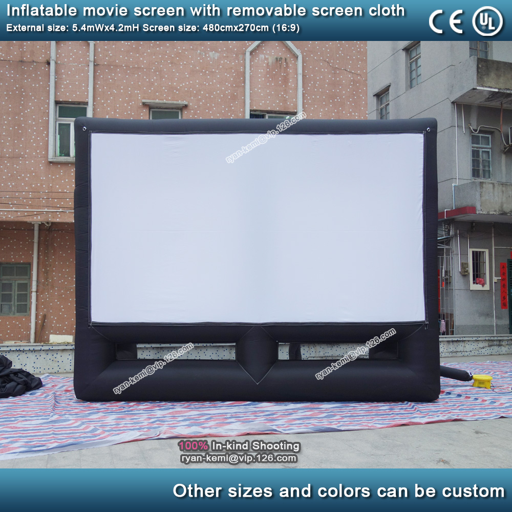 5.4m 16 to 9 outdoor inflatable movie screen with removable screen cloth Portable air screen projector cinema commercial projection screen 3