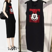 Women Sequined Shiny Mickey Character Embroidery Tank Dress Female Plus Size Fashion Chic Sleeveless Long Dress