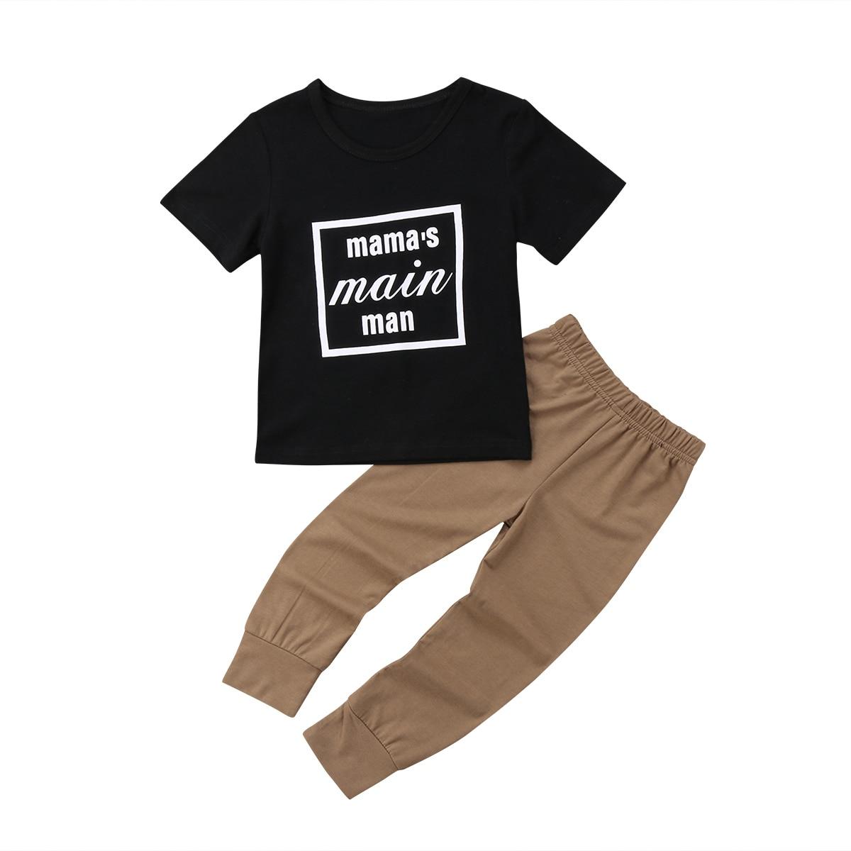 2 шт. Дети Одежда для мальчиков Повседневное хлопок o-образным вырезом письмо короткий рукав длинные Брюки для девочек 18 м-5 т helen115